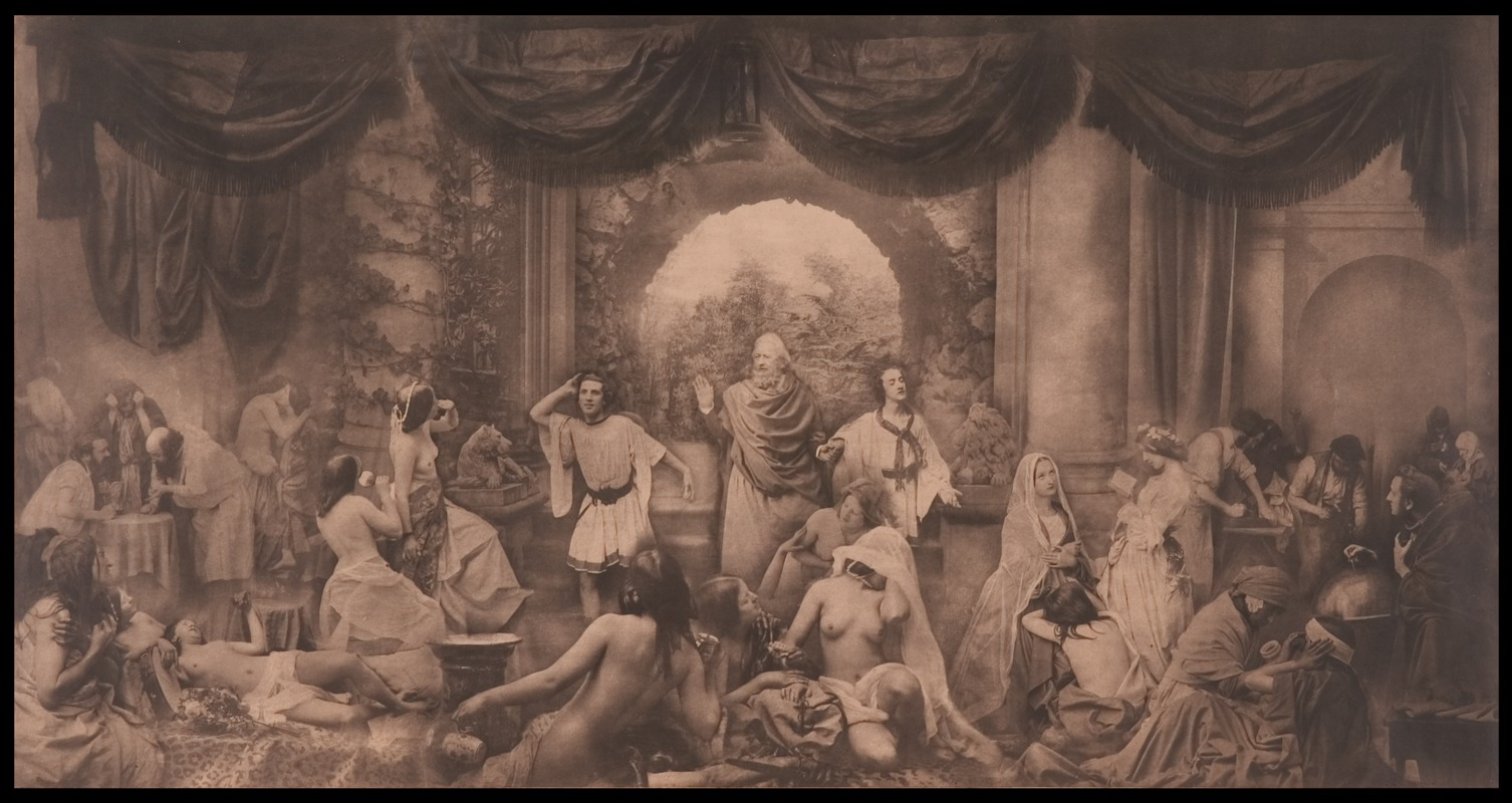 Oscar J Reijlander - The Two Ways of Life,1857.  The Royal Photographic Society Collection at the National Media Museum, Bradford, United Kingdom.  Continuing with religion,morals,and allegorical message is the work of Oscar J Reijlander, and the most complex composite image pre-1900. Fabricated of thirty images,  The Two Ways of Life  1857, was shown at exhibit in England and Scotland, causing such controversy that left side of the image was draped due to the life-like nature of the naked female form and the clarity of cultural message to forego lascivious behavior. The size of the image, at 16x30 inches, added to the reaction from Victorians and their Golden Era morality. (Source: M Pitchard, link .)