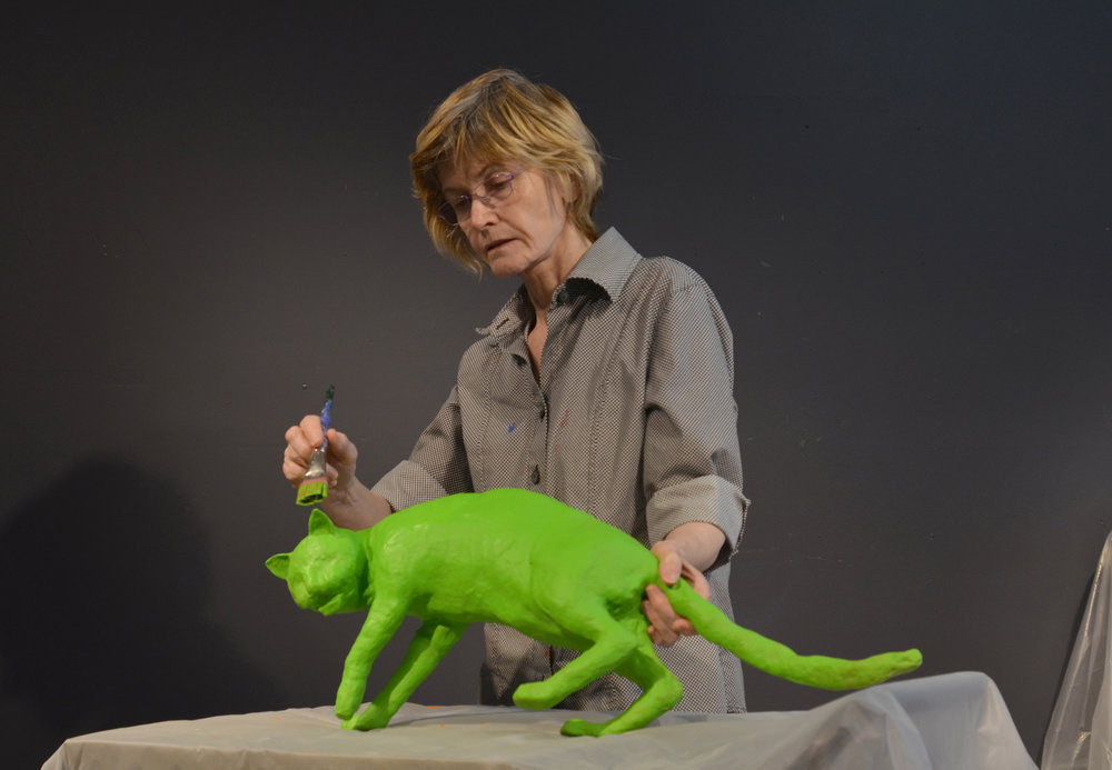 Skogland working on a cat model of her images.