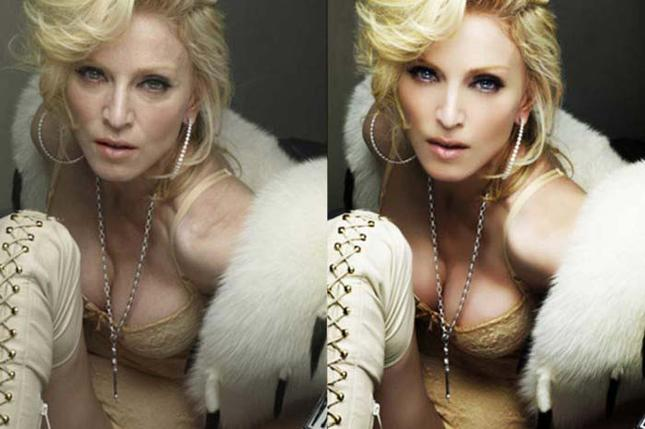 Anonymously, acquired image of an aging pop star from online publication   ЦВЕТНО  , Madonna before and after Photoshop, September 5th 2014. This idealized image of Madonna is far beyond the ability of a makeup artist. Yet because of the prevalence of Photoshop, our eyes find ordinary the loss of wrinkles, darken eyes, sharpened jaw and nose from a very recognizable subject of nearly three decades.  The reality shifting software has become part of our visual language.