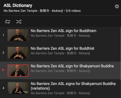 Screen Shot of NBZ's list of ASL Videos