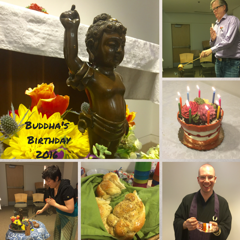 A composite image of the Hana Matsuri celebration. Showing the baby Buddha statue being bathed by participants with a bamboo dipper, challah bread, and flower pot shaped cake.
