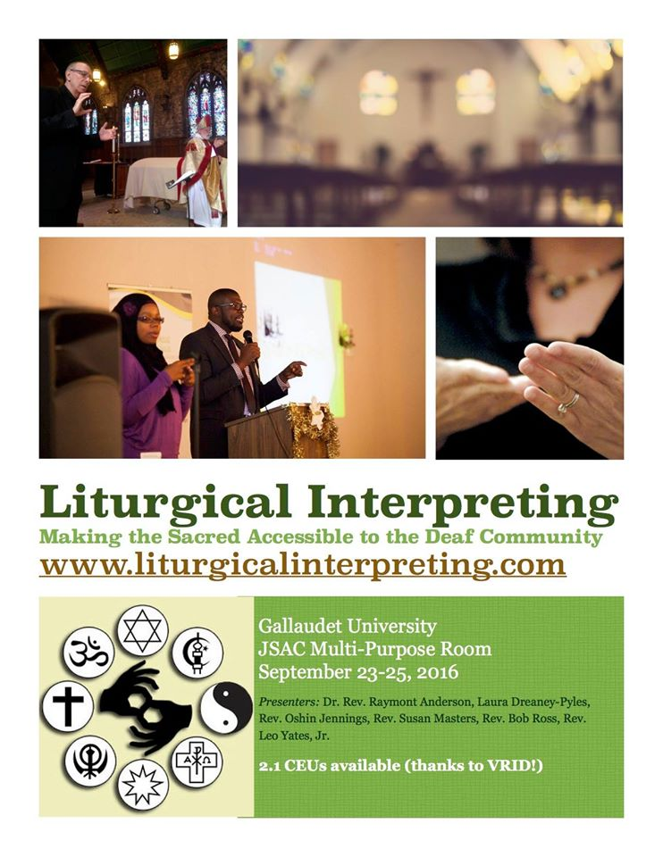 Liturgical Interpreting conference poster, showing interpreters in a church and mosque setting.