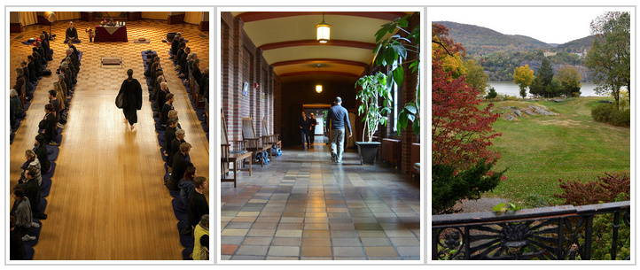 Three images of Garrison Institutes grounds, a large Dharma hall with meditators, spacious hall ways, and wooded grounds looking out on the Hudson river.
