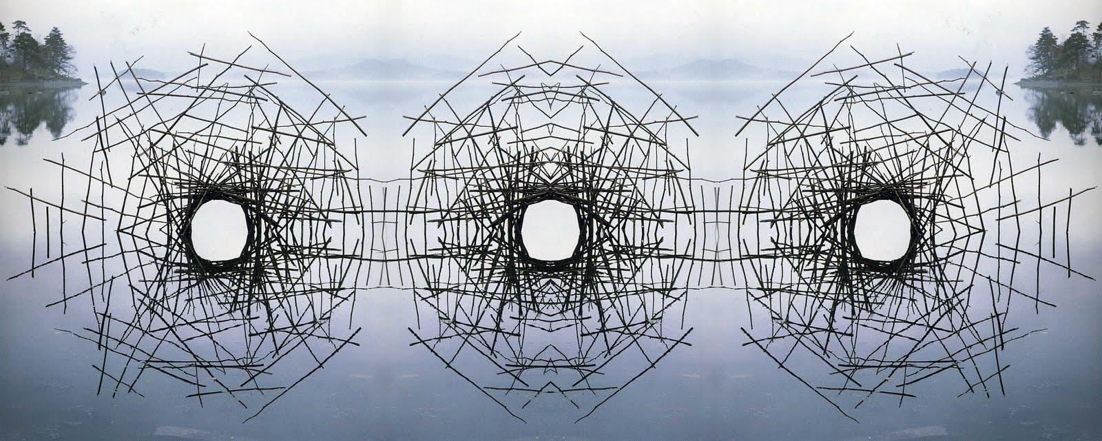 A sculpture by Andy Goldsworthy, arranged sticks reflecting in the water.