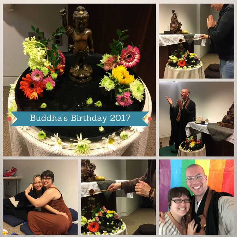 "A composite image of the  Hana Mido , Sangha members ladling tea over the statue of Baby Buddha, Mo and Erica hugging, and Oshin and Mo in front of a Pride Flag, with the text ""Buddha's Birthday 2017"" overlaid."