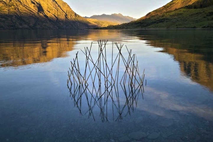 A photo of an Andy Goldsworthy sculpture, sticks are arranged in a lake so that their reflection forms a circle.