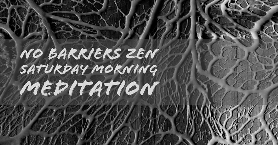 """Image description: A black and white image of plant vein structures, the overlaid text reads """"No Barriers Zen Saturday Morning Meditation""""."""