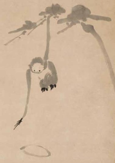 Image description: A sumi ink painting of a monkey reaching down from a branch to touch the water, by Hakuin Ekaku