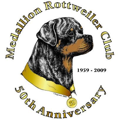 Medallion Rottweiler Club 50th Anniversary logo - Style: pen & ink with color