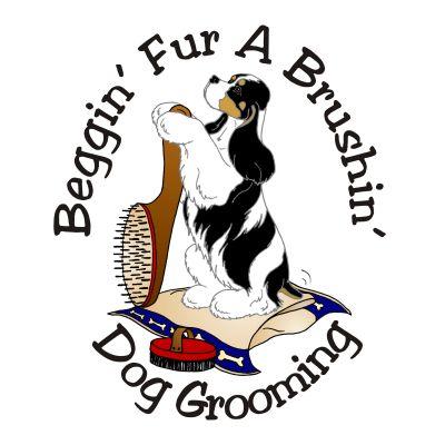Beggin' Fur A Brushin' Dog Grooming Logo