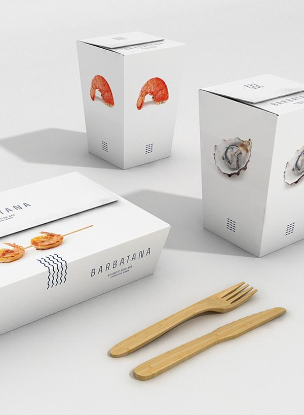 Barbatana restaurant brand packaging