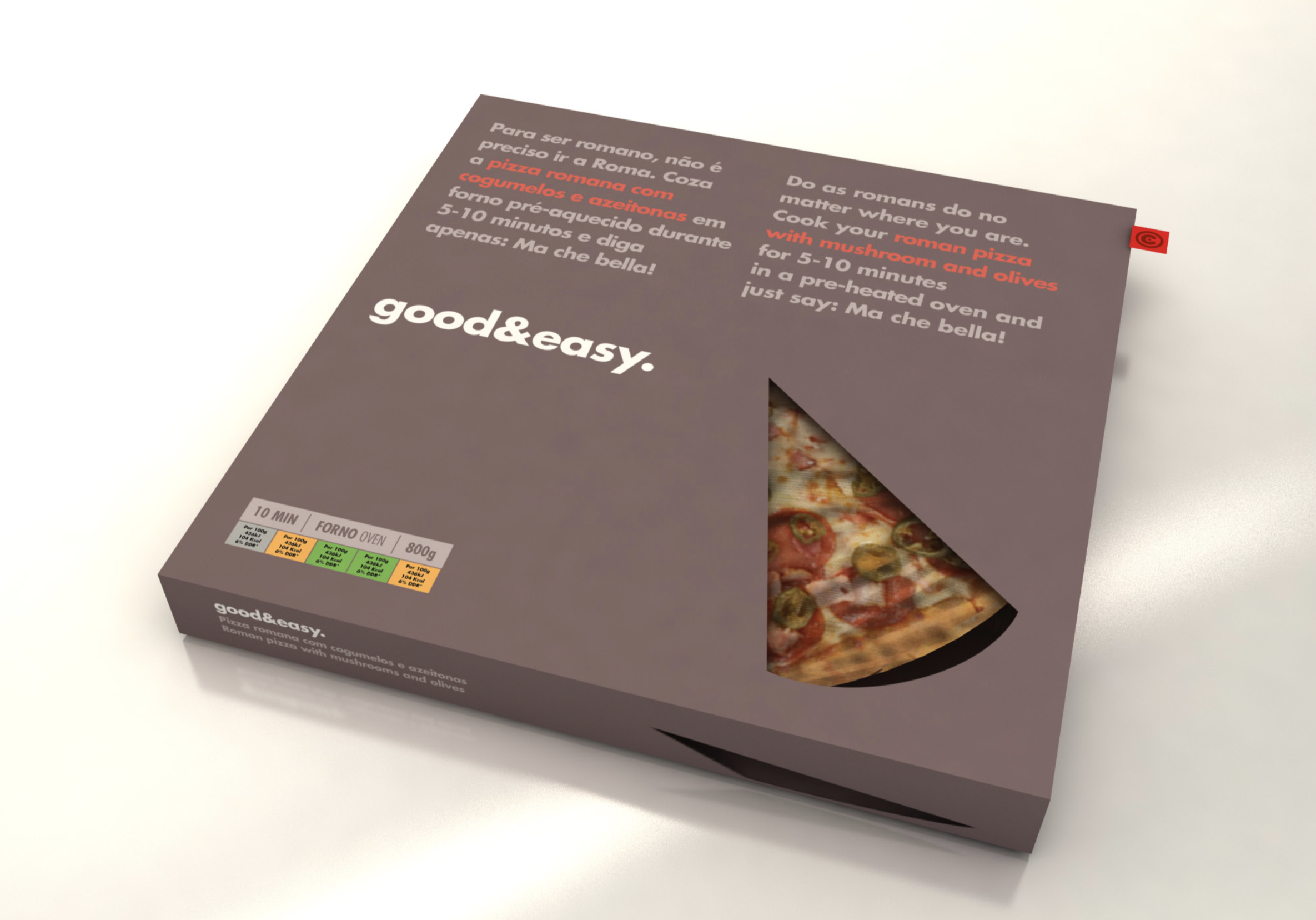 Good & Easy pizza packaging Continente