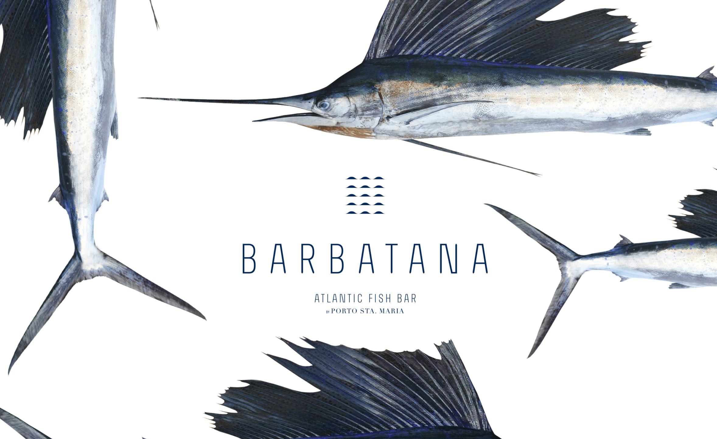 Barbatana restaurant brand logo mood