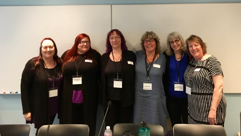 The panel - from left to right: Morticia Knight, Amanda Jean, Charley descoteaux, me, e.j. russell and CJane Elliot