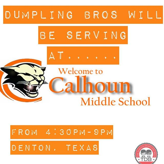 @dumplingbros will be serving at @calhounmiddleschool in @dntntx from 4:30-9pm.  @sparxxsliders will be at @eastsidedentontx from 5pm-10pm!! 2 places to catch us! #foodtrucktuesday #nocooktuesday #dentonfood #foodtruck