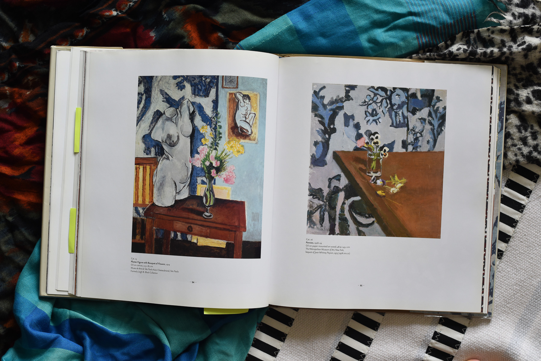 Paintings featuring the blue and white textile