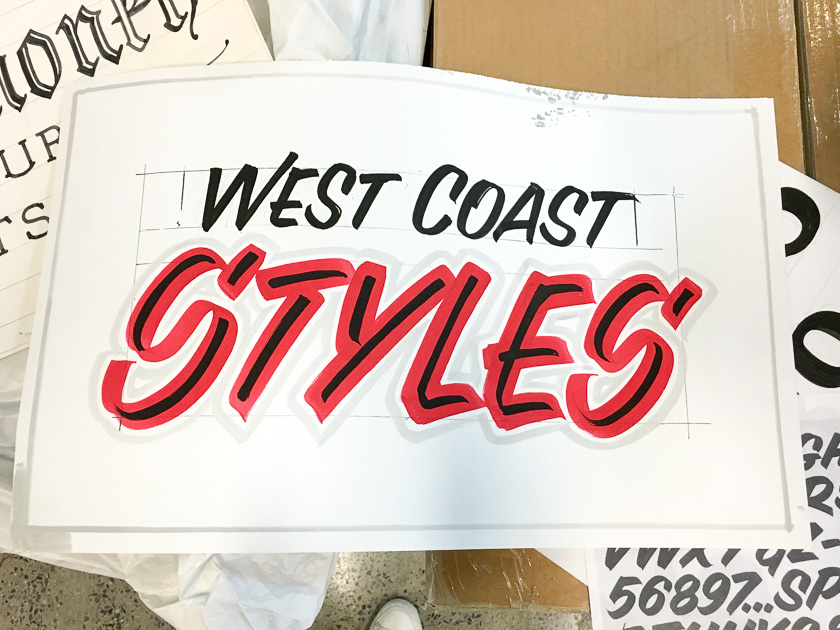 West Coast style single stroke sign painting technique example by John Downer