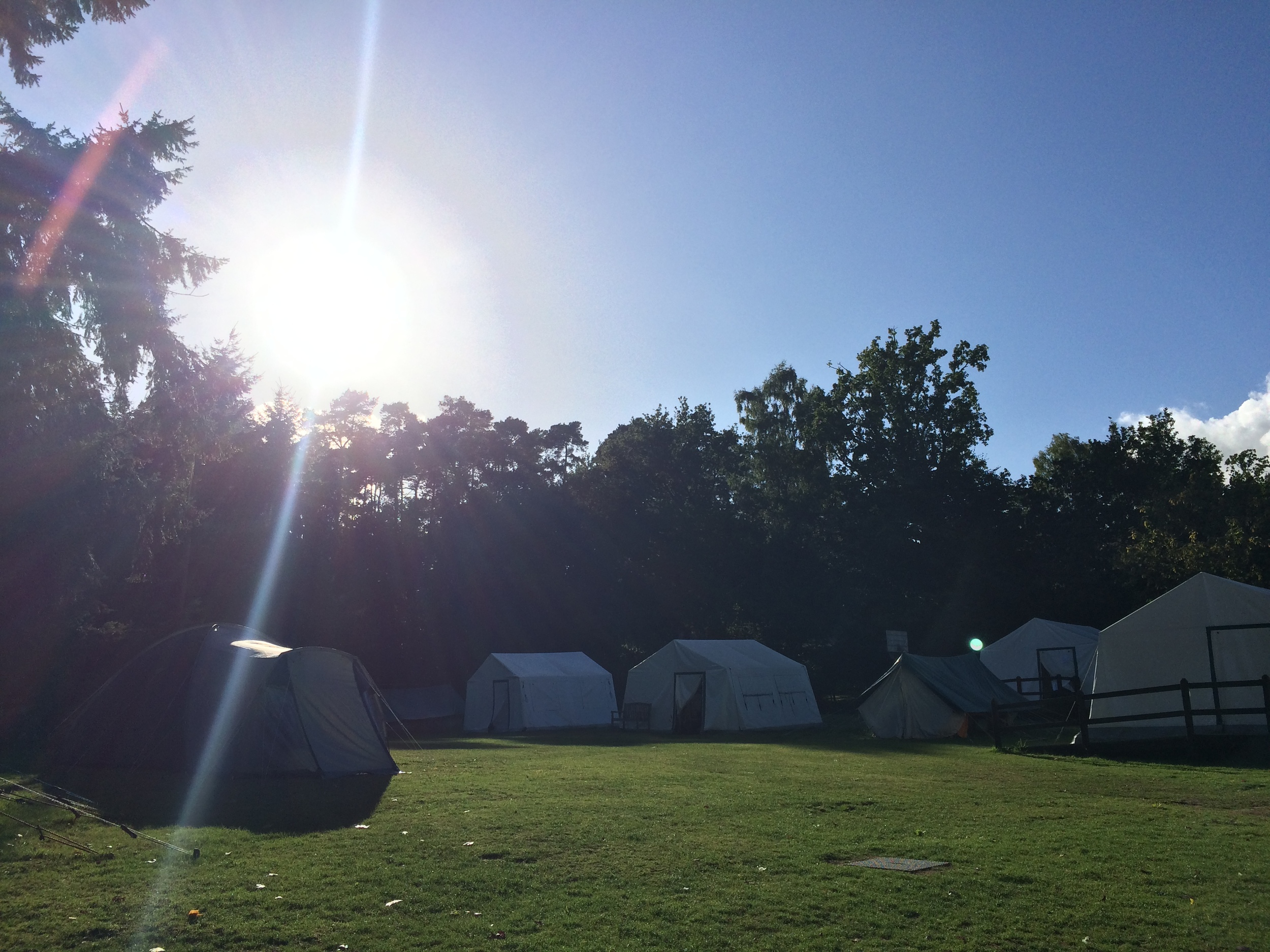 Tents in top field