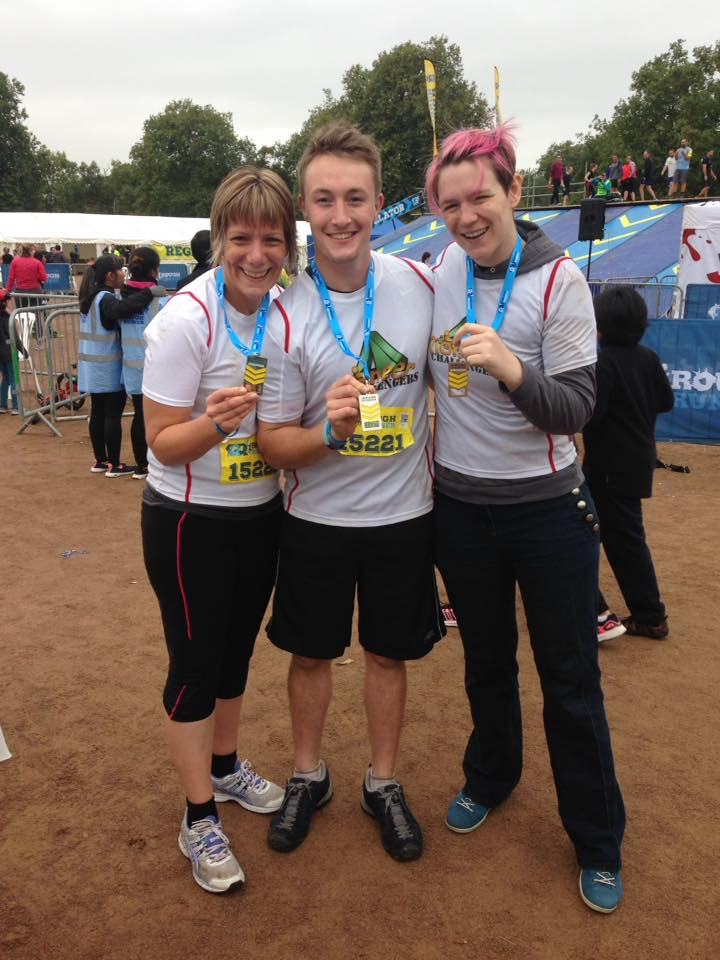 (L-r) Cass Simpson, Paul Fox and Jen Cooley after the Clapham Rough Runner.