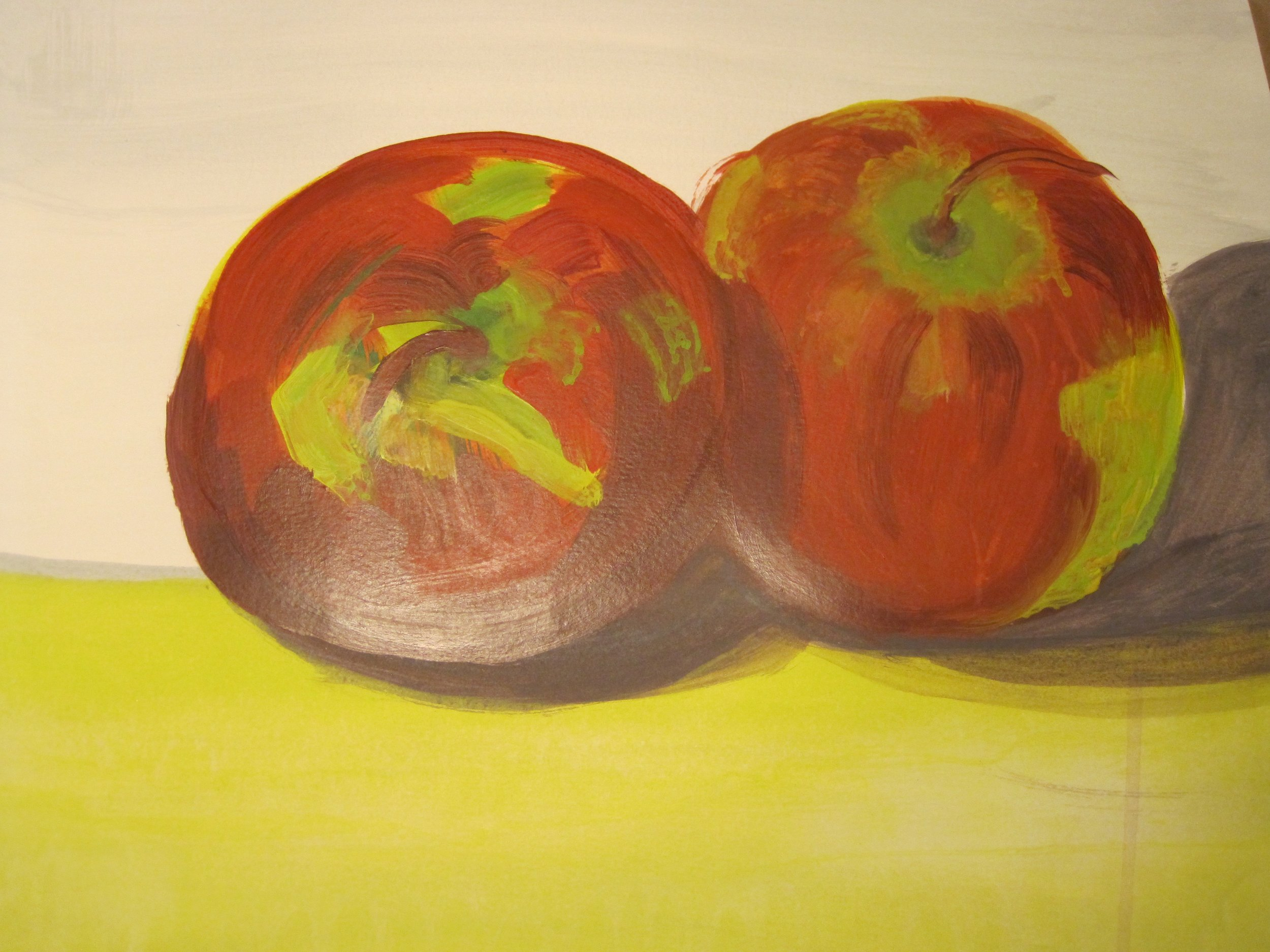"Camille Savage, Apples Forever Immortalized, Acrylic on Paper, 18"" x 24"""