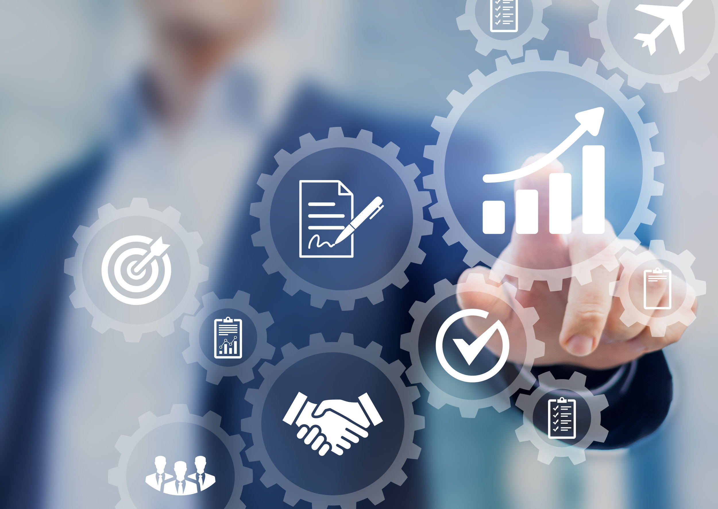 usiness process management and automation concept, automated workflow, gears, businessman AdobeStock_175771326.jpeg