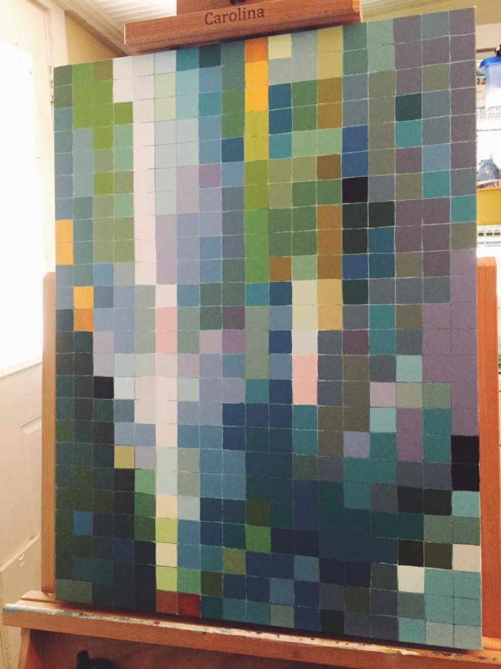 I've finished putting all of the color on the canvas! Next up is defining shapes. All of the pixels are done-- 52 colors, mostly shades of green, with some purples and blues mixed in!