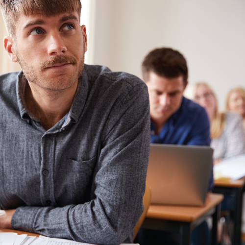 Photo Description: A white dude with a mustache prepares himself to learn how to get comfortable with discomfort.