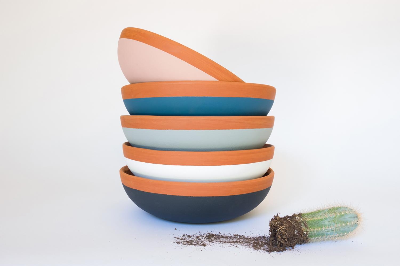 Colorblock Terracotta Planters Succulent Bowls with Cereus Cactus