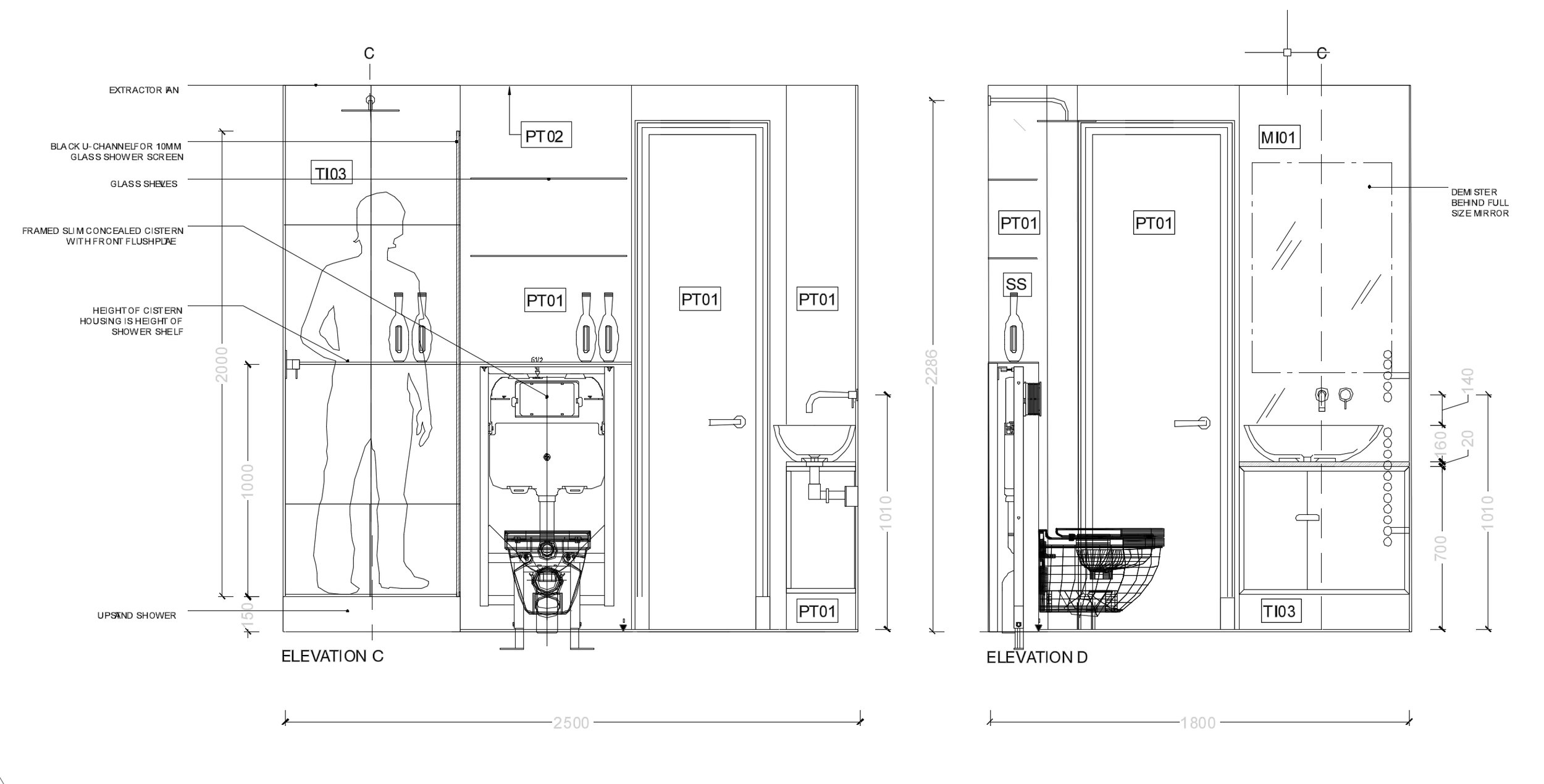 Detail designs for a bathroom