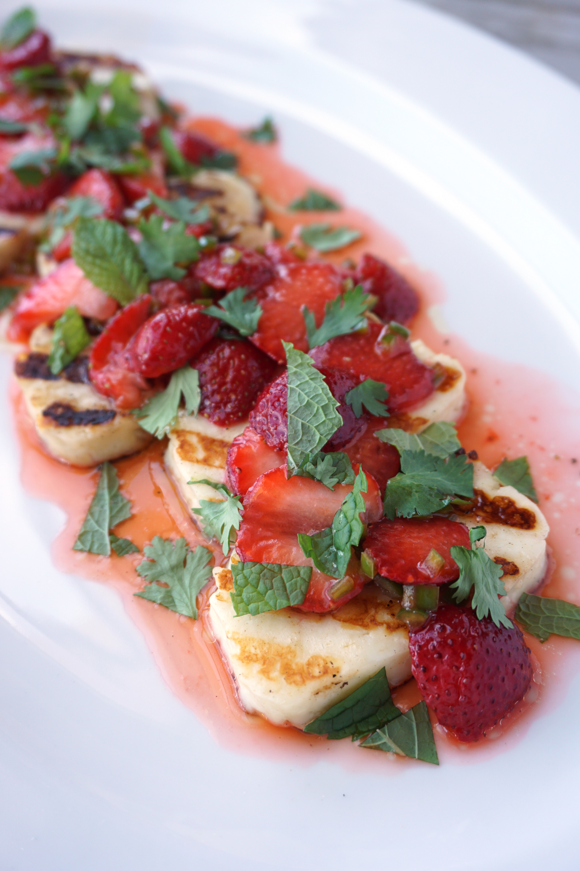 Warm, grilled Halloumi cheese with Herbed Strawberries