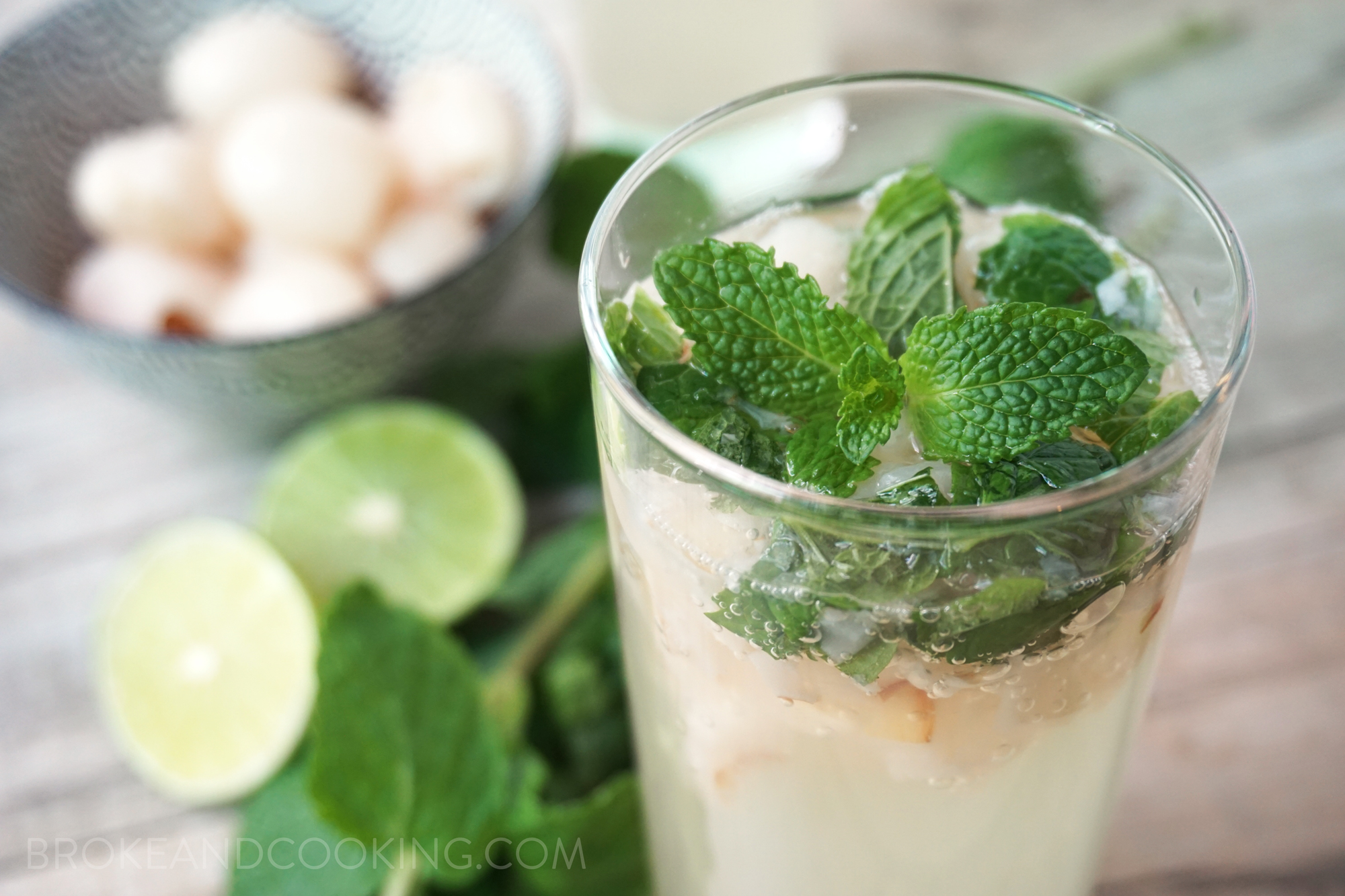 Refreshing lychee, ginger, and mint fizz mocktail