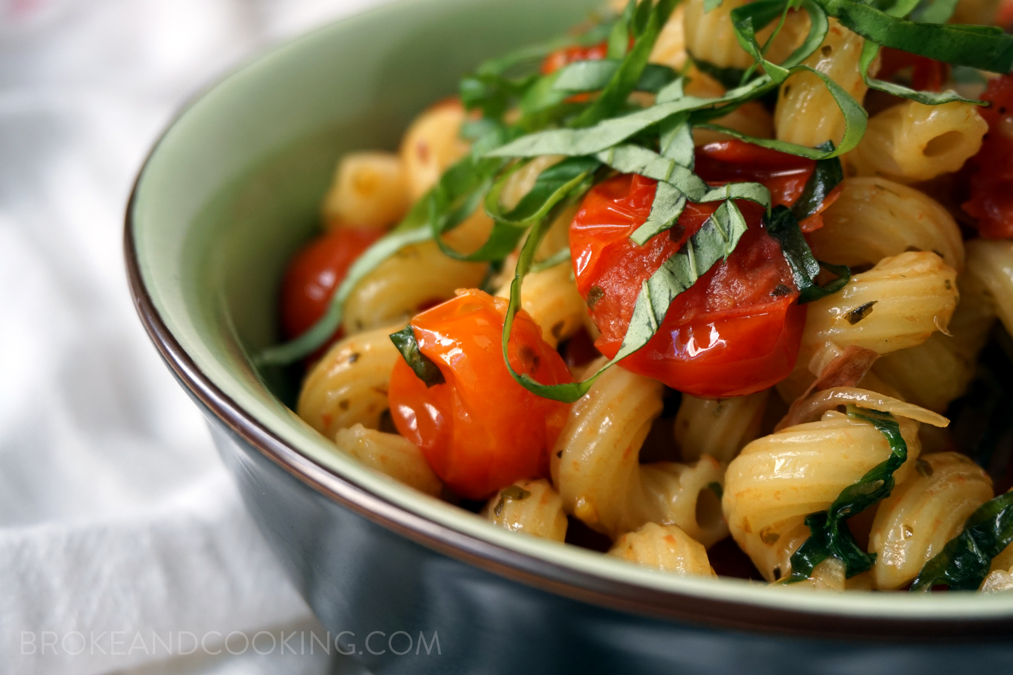 A simple toss-together pasta: Cavatappi with Buttery Tomato and Shallot Sauce