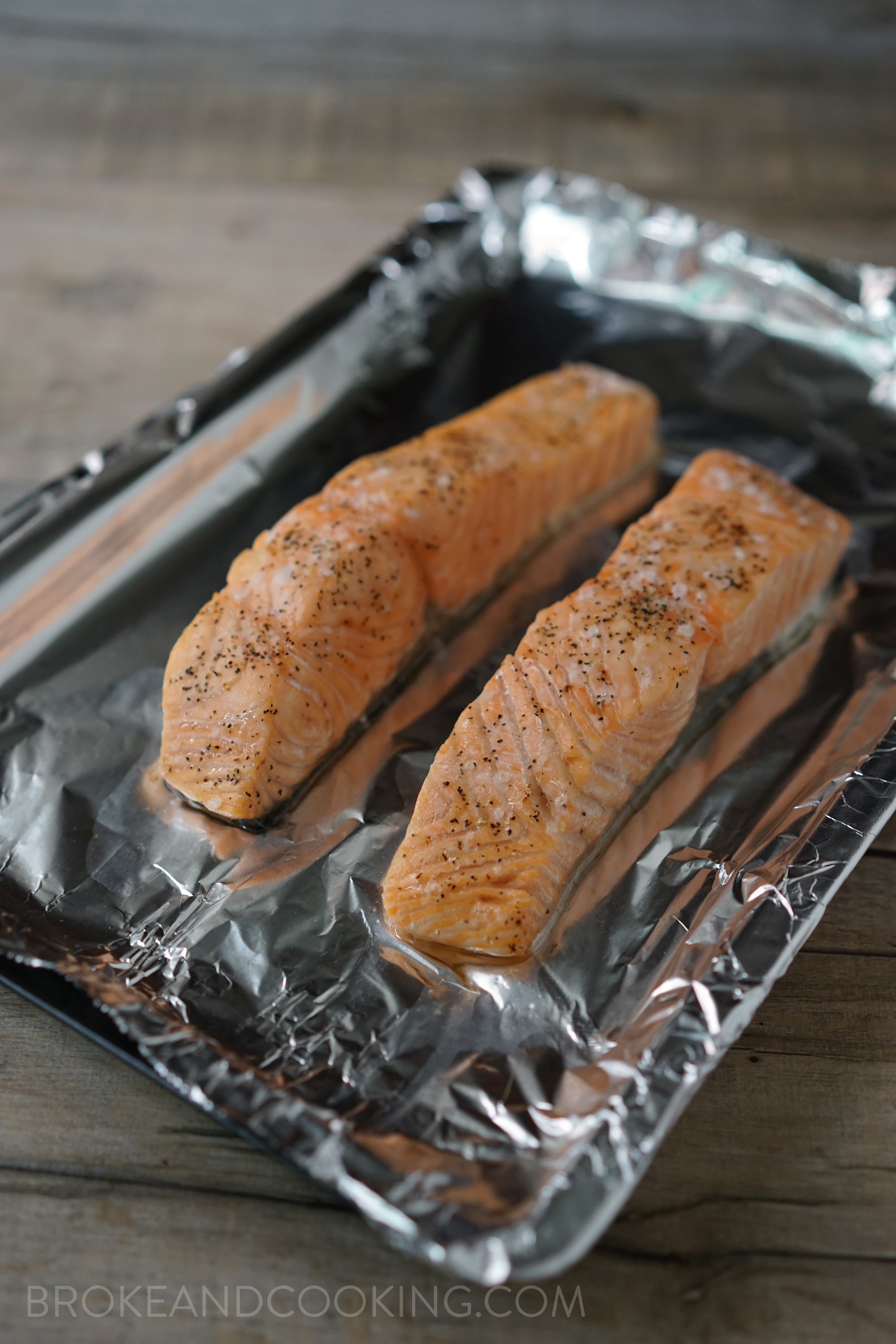 Moist, tender salmon, cooked under the broiler for 5 minutes