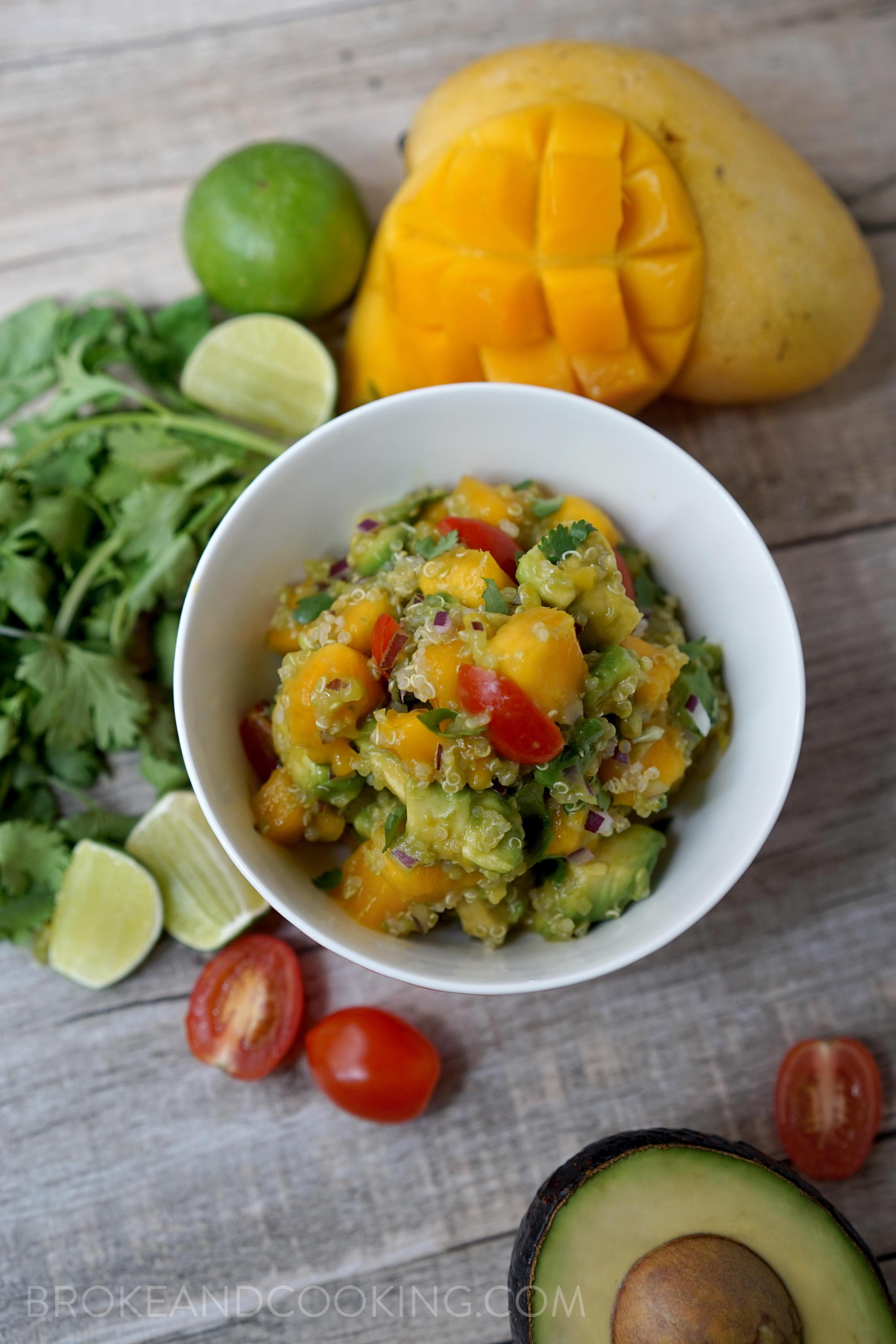 Broke and Cooking Mango Avocado Quinoa Salad with Lime Vinaigrette 13