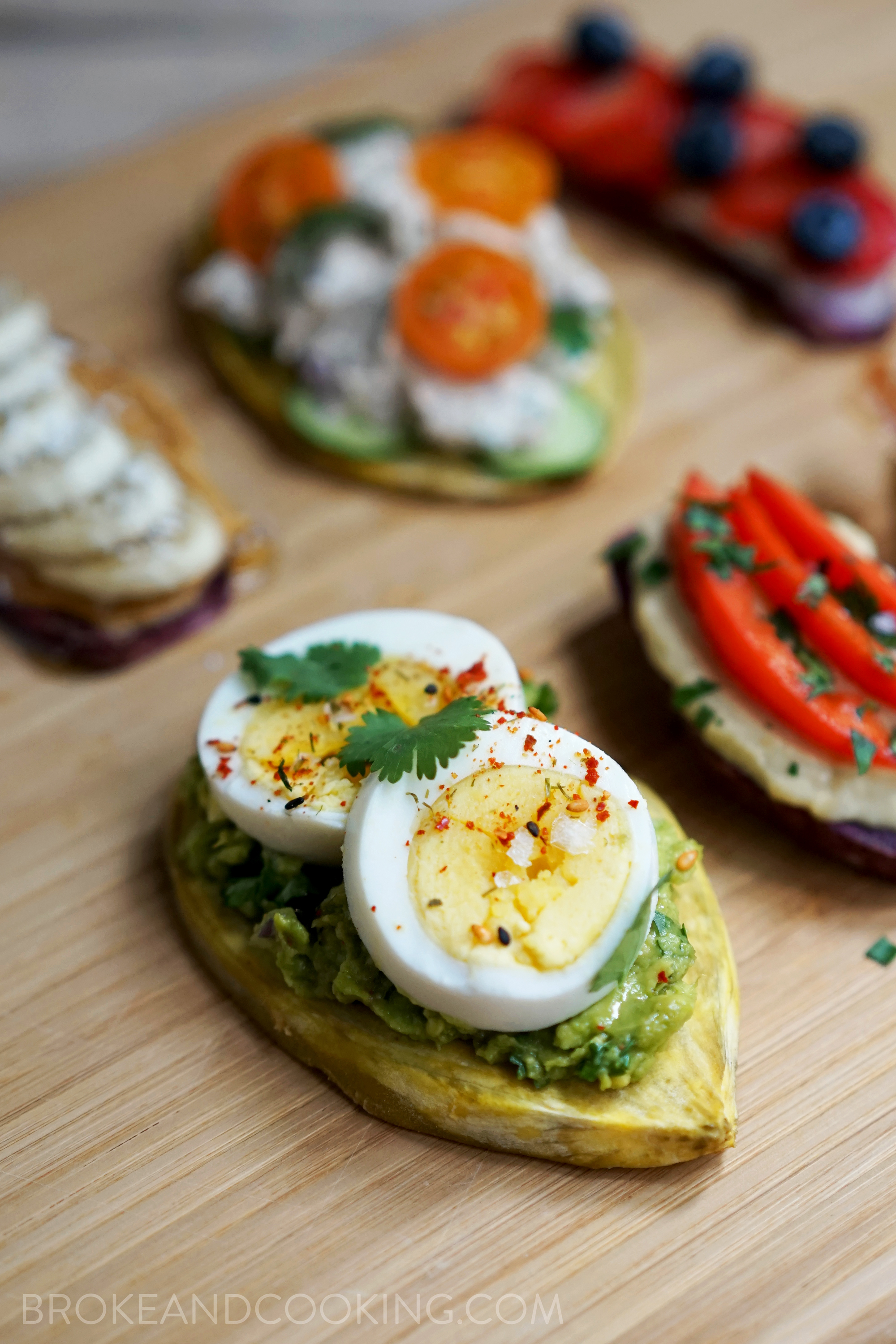 Sweet Potato Toast with Smashed Avocado and Eggs with Maldon Salt