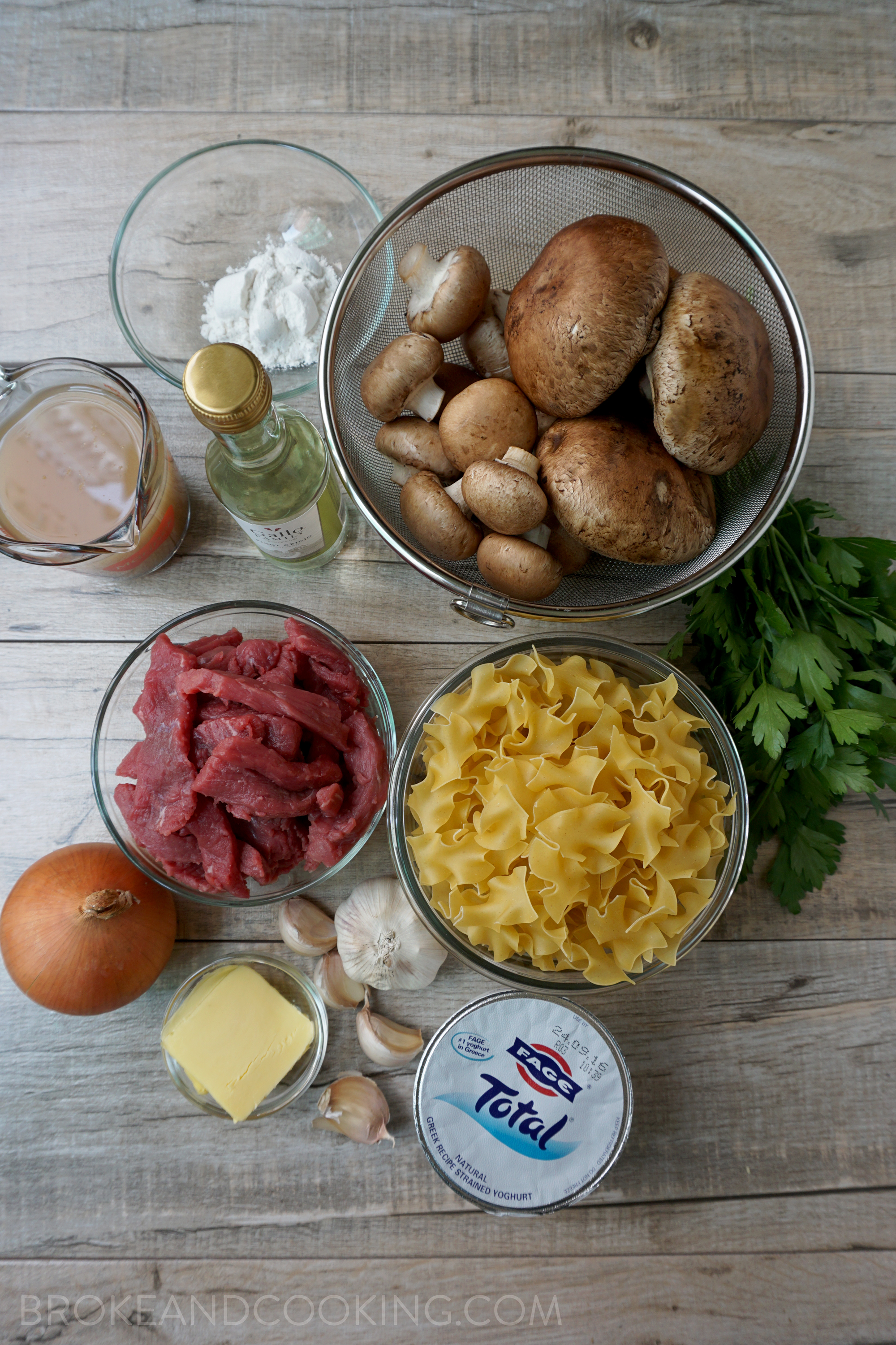 Ingredients for a lightened up version of the classic Beef Stroganoff