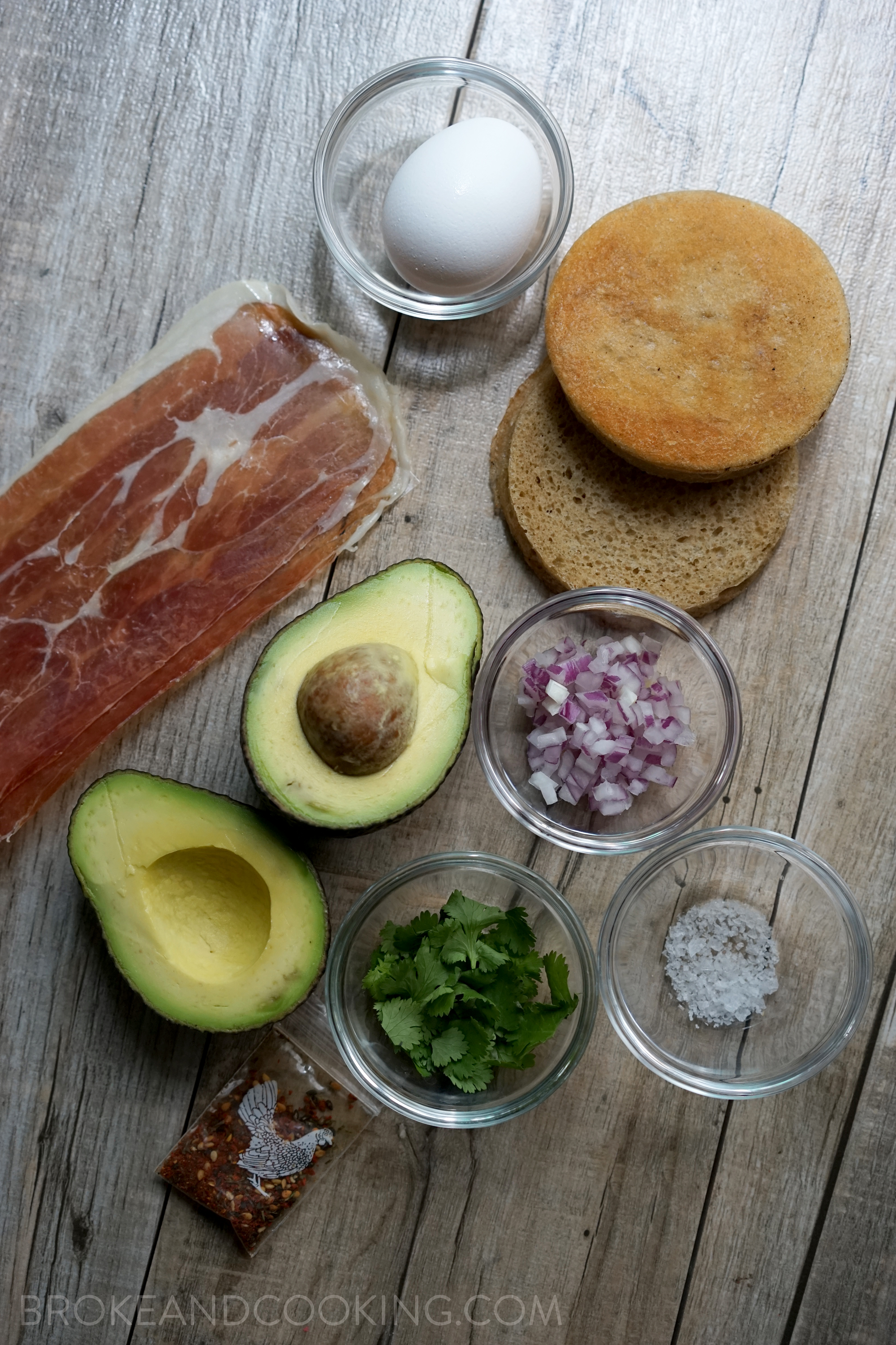 Ingredients for a simple and delicious breakfast sandwich!