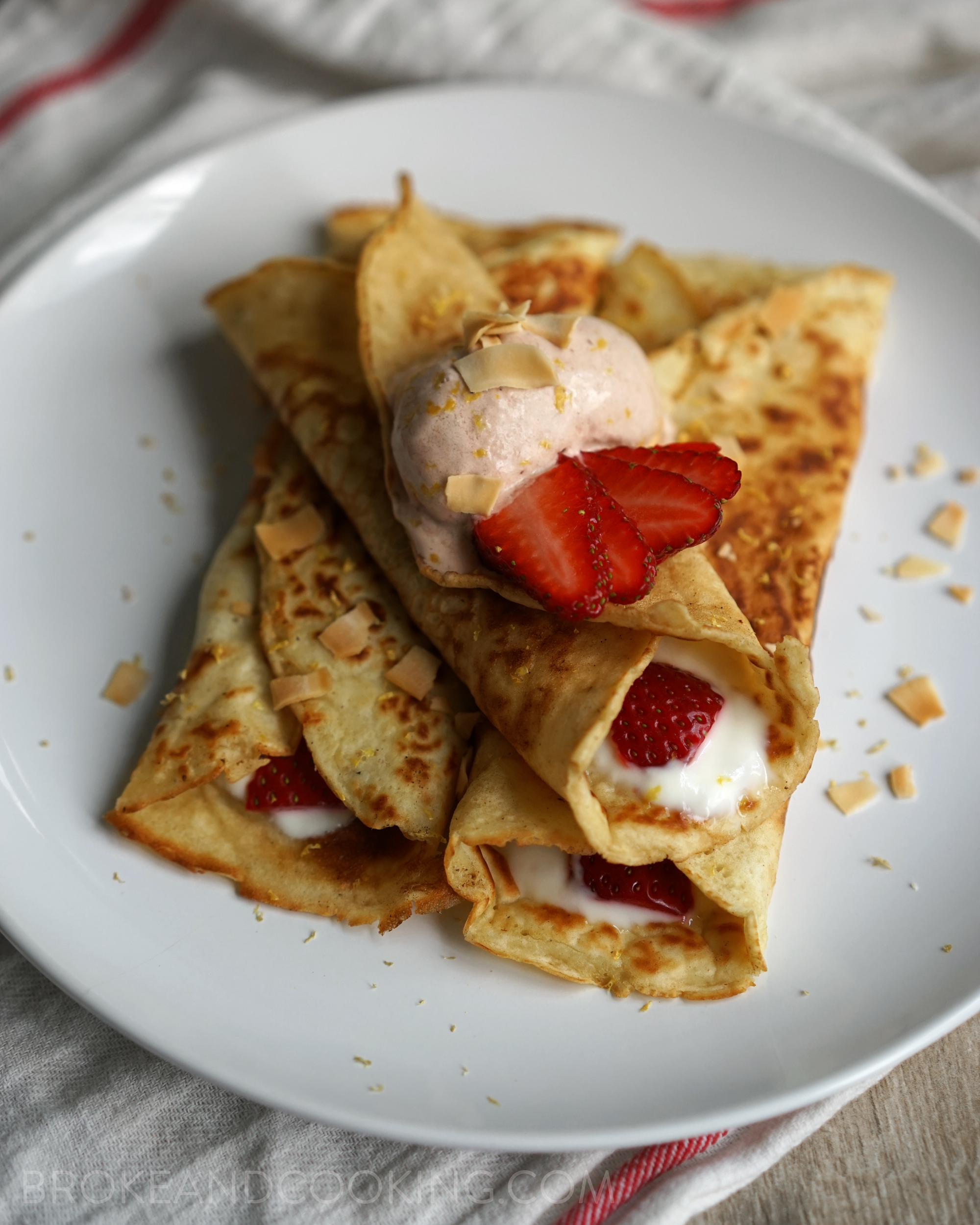 Light and Fluffy Crepes Recipe by Broke and Cooking - www.brokeandcooking.com