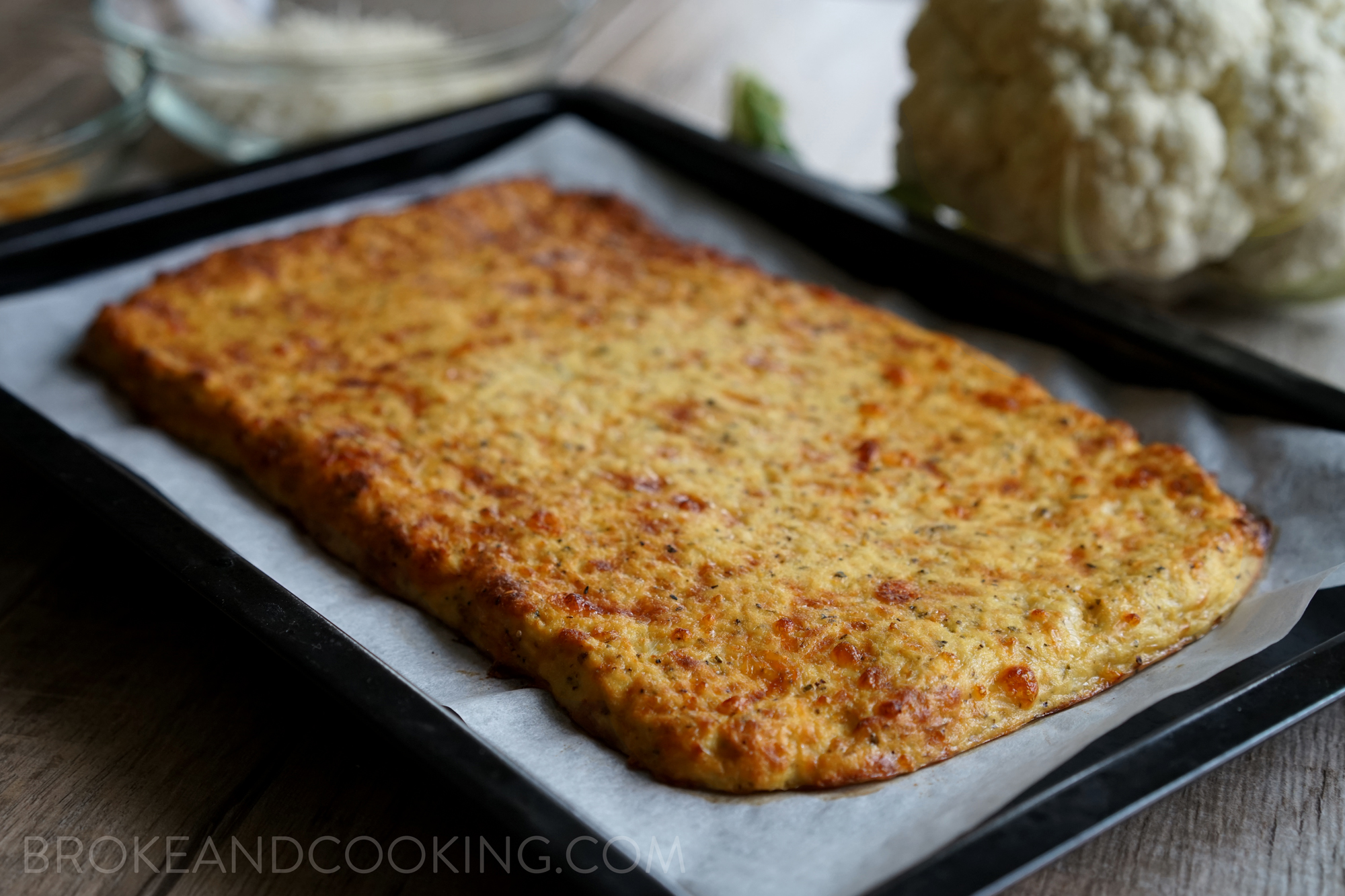 Low Carb, Gluten Free Cheesy Cauliflower Breadsticks Recipe by Broke and Cooking - www.brokeandcooking.com