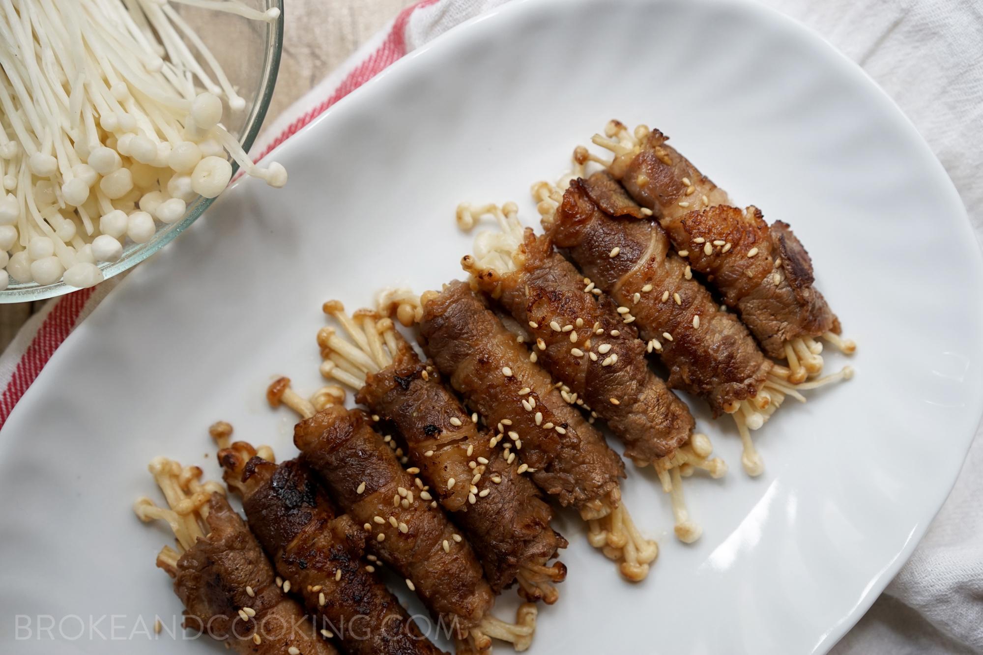 Beef Enoki Rolls Recipe by Broke and Cooking - www.brokeandcooking.com