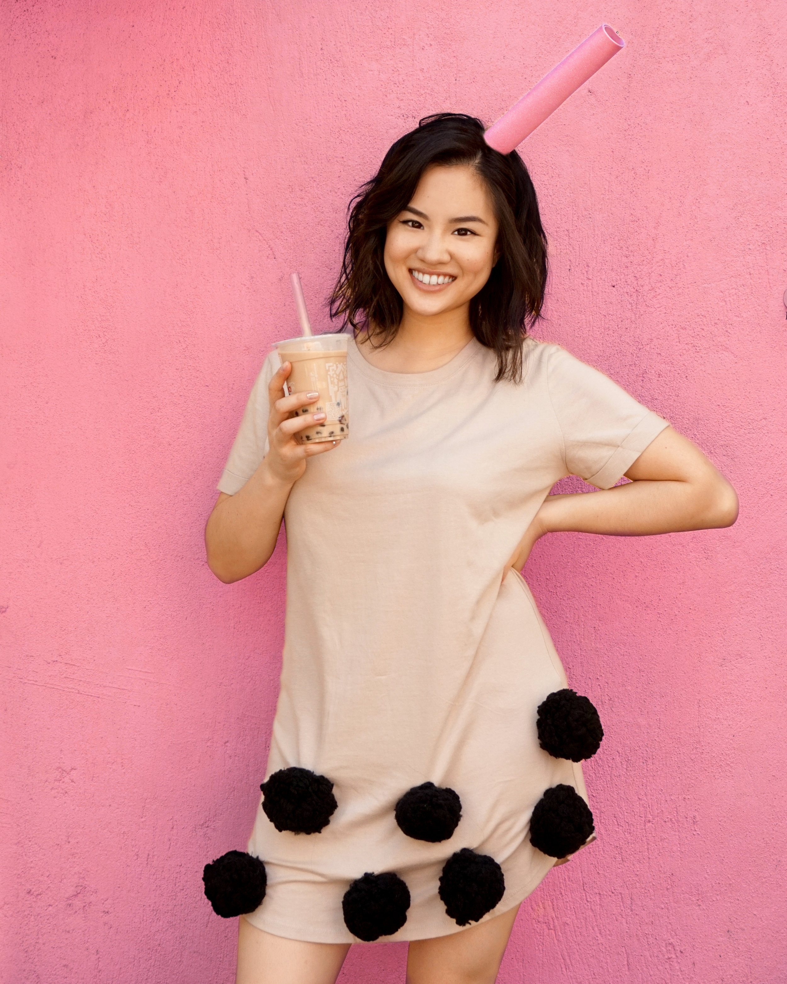 Boba Milk Tea Halloween DIY Costume Tutorial by Broke and Cooking - www.brokeandcooking.com