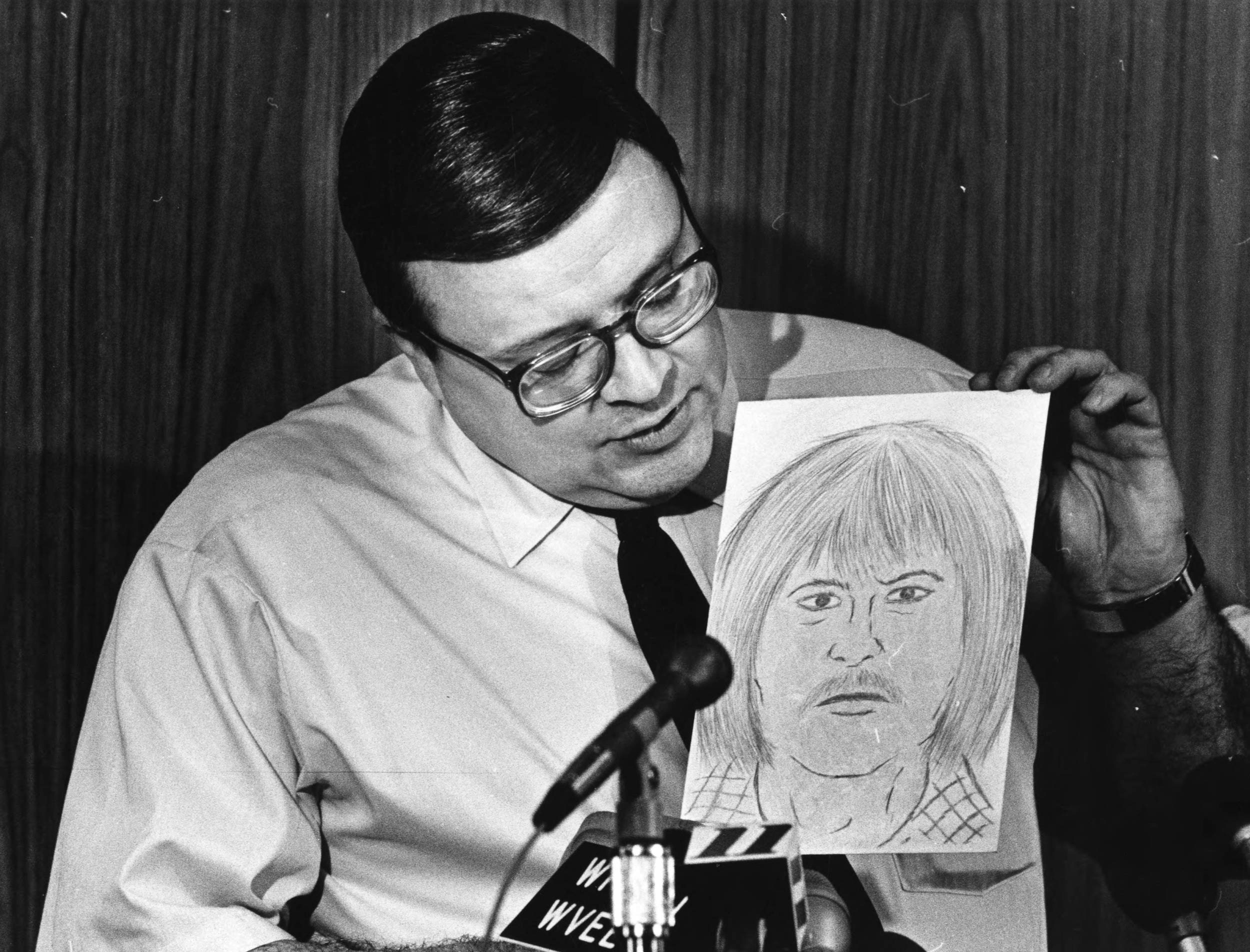 Police composite sketch of a possible witness in one of the child abductions.  Photograph by Billy Downs (1981) Atlanta Journal-Constitution Photographic Archives. Special Collections and Archives, Georgia State University Library.