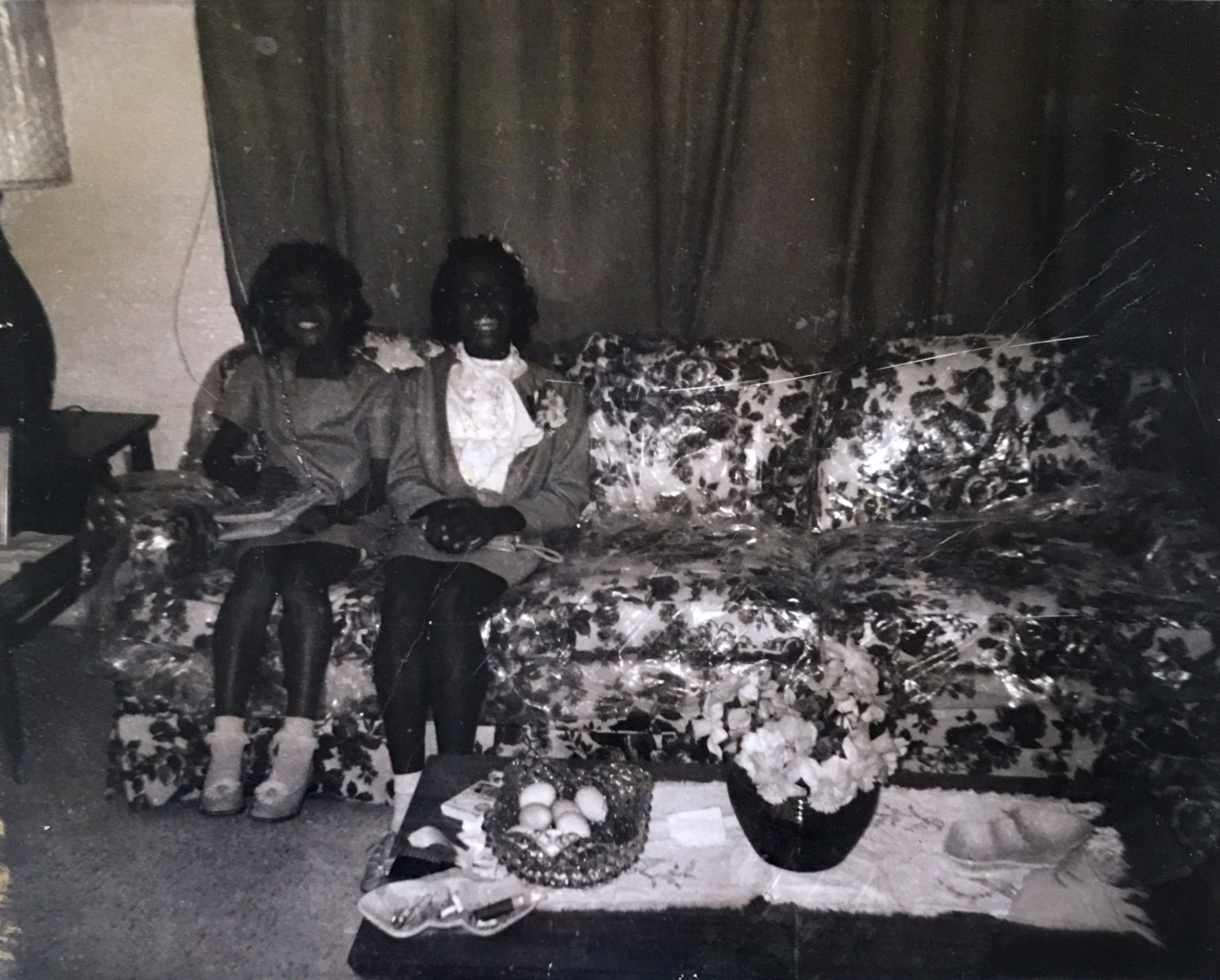 Photograph of my mother (left) and aunt (right) in their Daytona Beach home. From the personal archive of Renata Cherlise