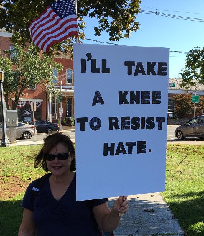 Ann Pompelio knee to resist hate.2.jpg