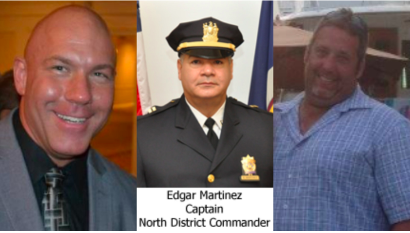 JCPD officers John Bado (left) and George Manuel (right), then-Captain Edgar Martinez (center)