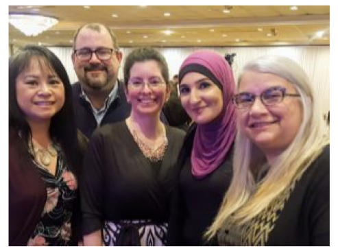 "Pictured with radical Linda Sarsour (above, L-R) are Uyen ""Winn"" Khuong, ATNJ Executive Director; Scott Baron, ATNJ Activist; Johannah Hinksmon, ATNJ Sussex County Co-Chair; and Kim Baron, ATNJ Director of Operations."