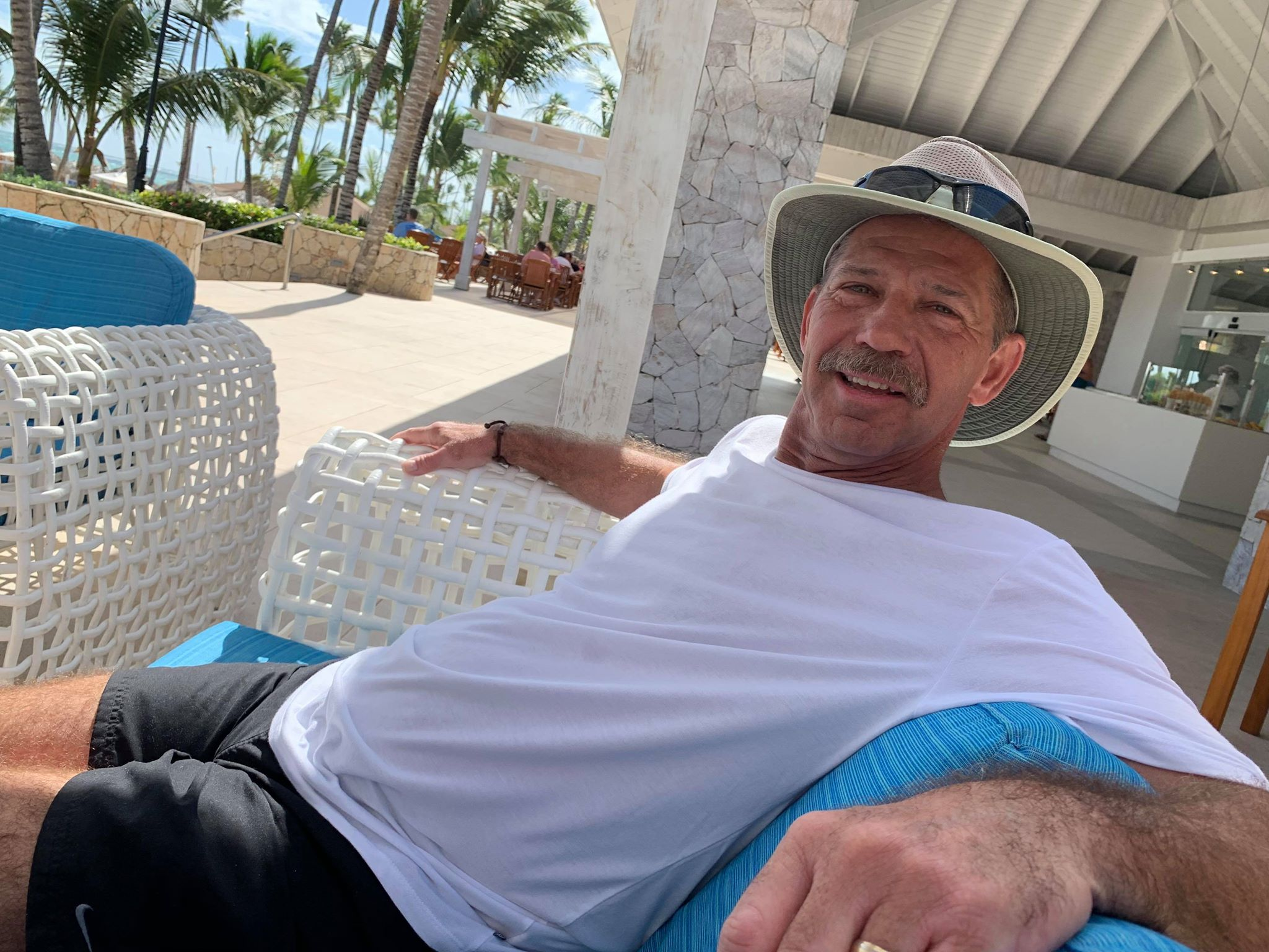 My dad relaxing on a well-earned vacation in Punta Cana earlier this year.