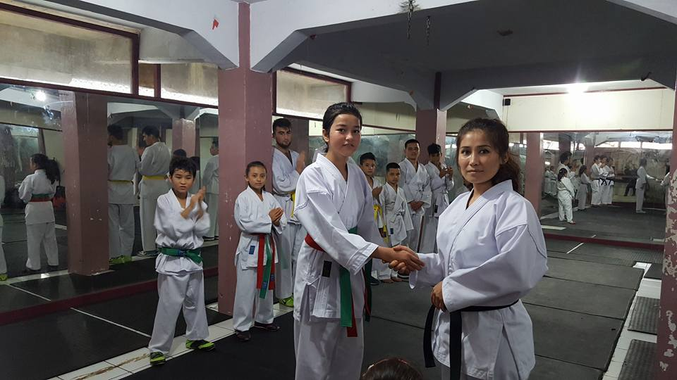 Arzo with her Karate teacher in Cisarua