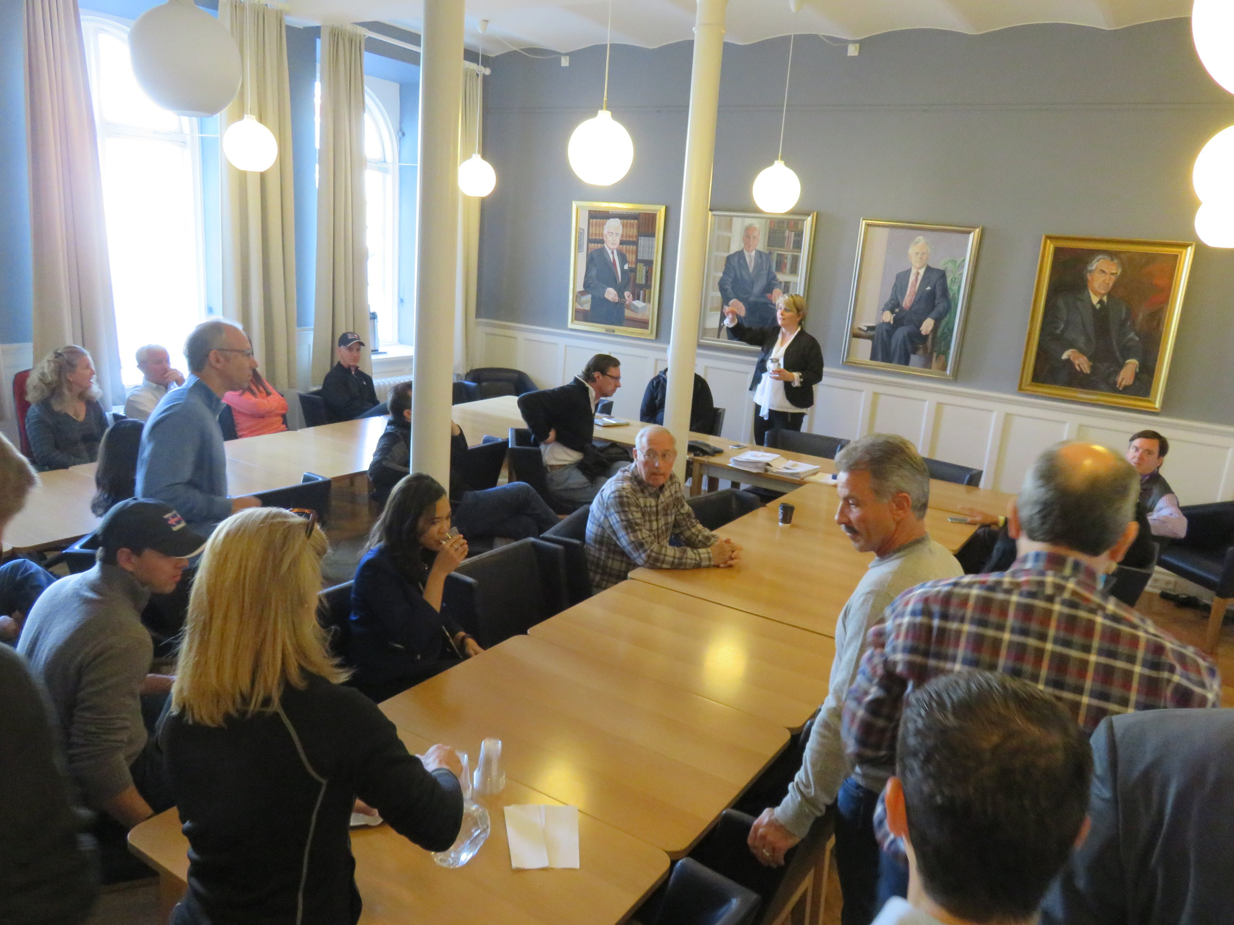 Town hall meeting with Iceland's parliament leadership.