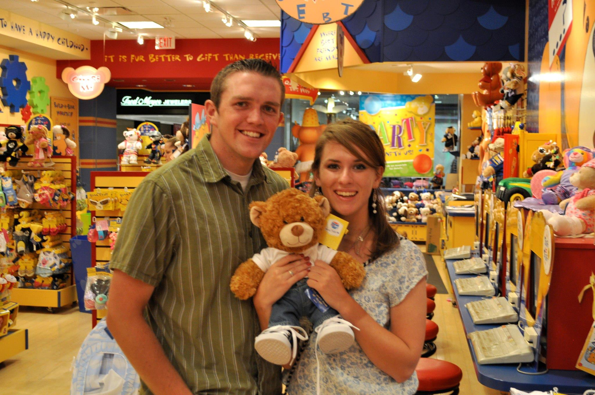 A week before I left to go back to Wyoming, David and I made a Build a Bear with a Utah State shirt. That is where he was going to school. That way I could always remember him. Like I could forget ;)